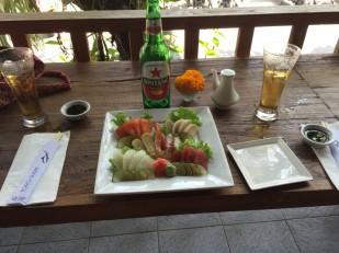 Sashimi and beer