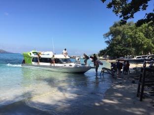 Boarding the fast boat to Padangbai