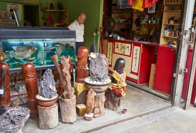 Shop selling live fish, big wooden willies and rocks