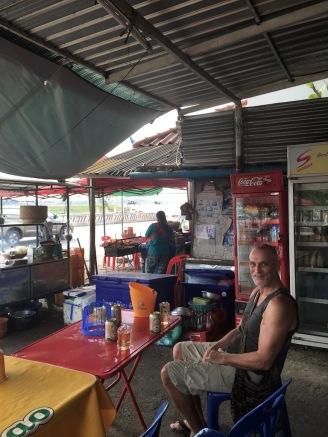 Enjoying a BeerLao