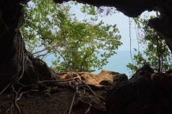 Out of a cave
